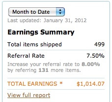 Amazon Affiliate Income Jan 2012