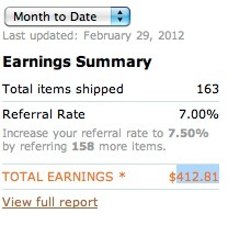Amazon Affiliate Income Feb 2012