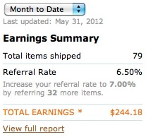 Amazon Affiliate Income May 2012